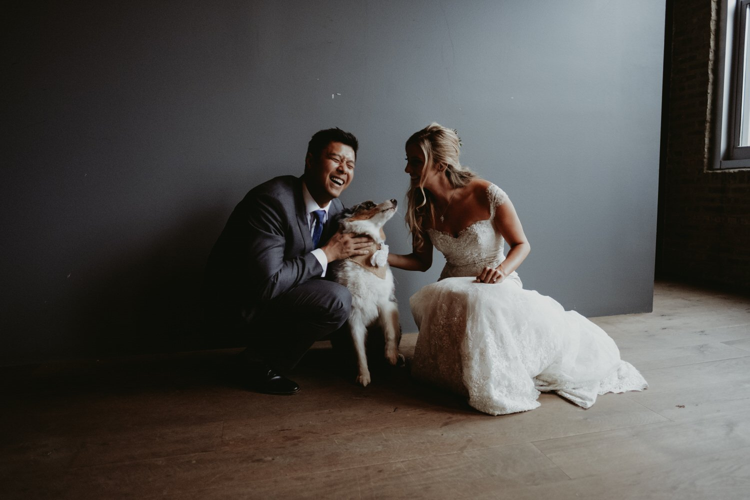 architectural artifacts Chicago wedding photography. Bride and groom with cute dog.