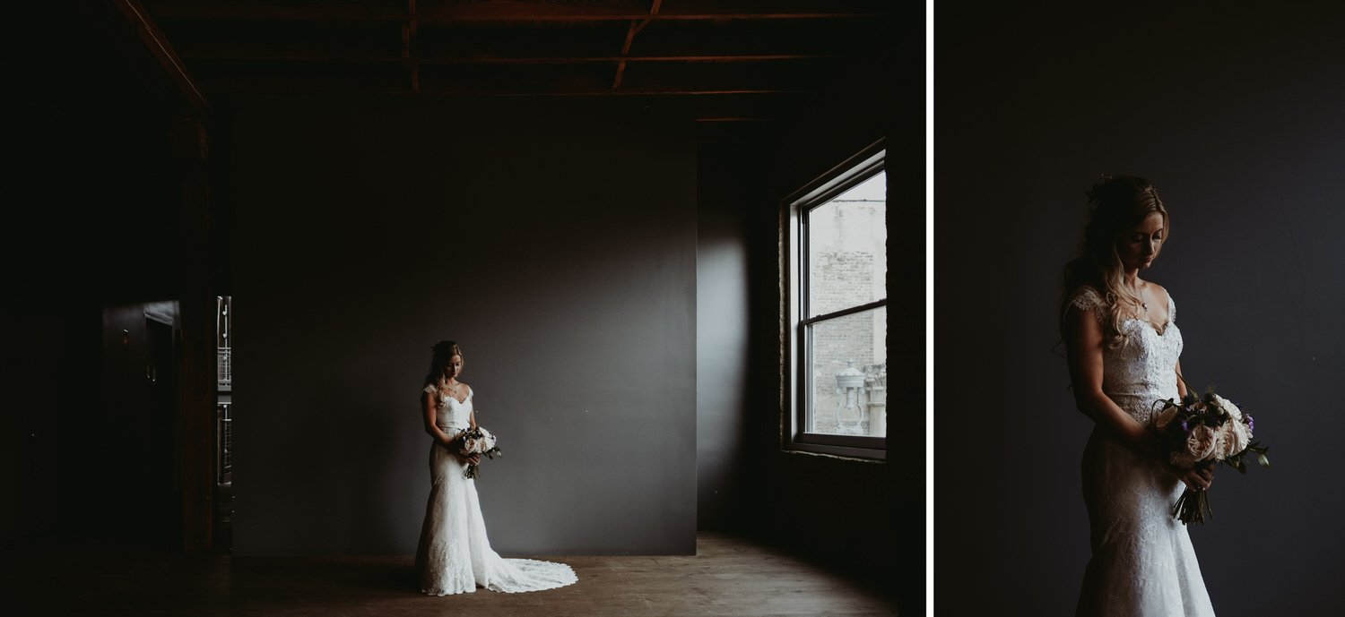 architectural artifacts Chicago wedding photography. bridal dress, moody wedding.