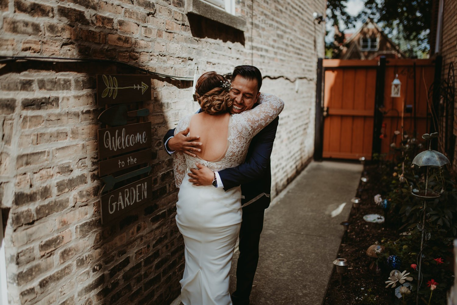 Chicago vow renewal, first look in the back yard, The Adamkovi