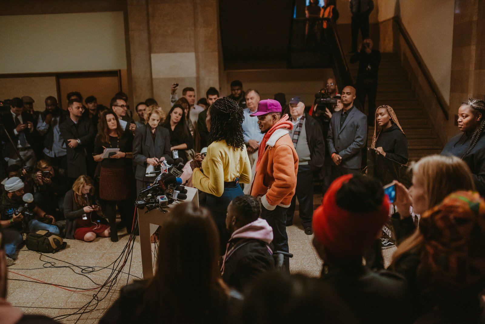 Chance The Rapper Endorses Amara Enyia For Mayor at Chicago City hall