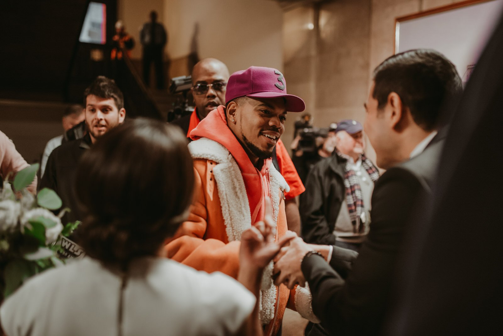 Chance the rapper at a wedding Chicago City hall elopement, the Adamkovi