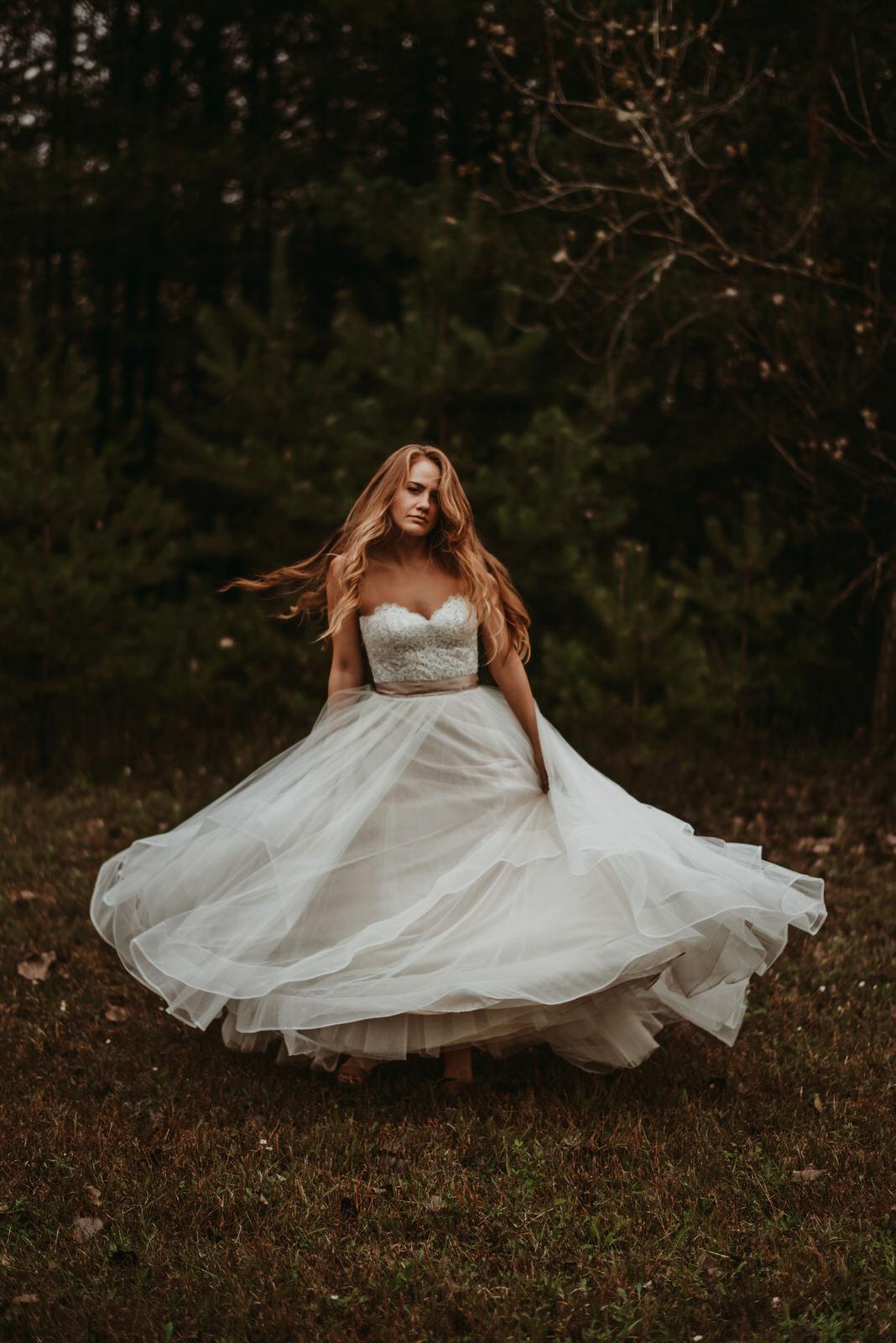 BHLDN wedding dress, moody photography, Chicago wedding photography - The Adamkovi