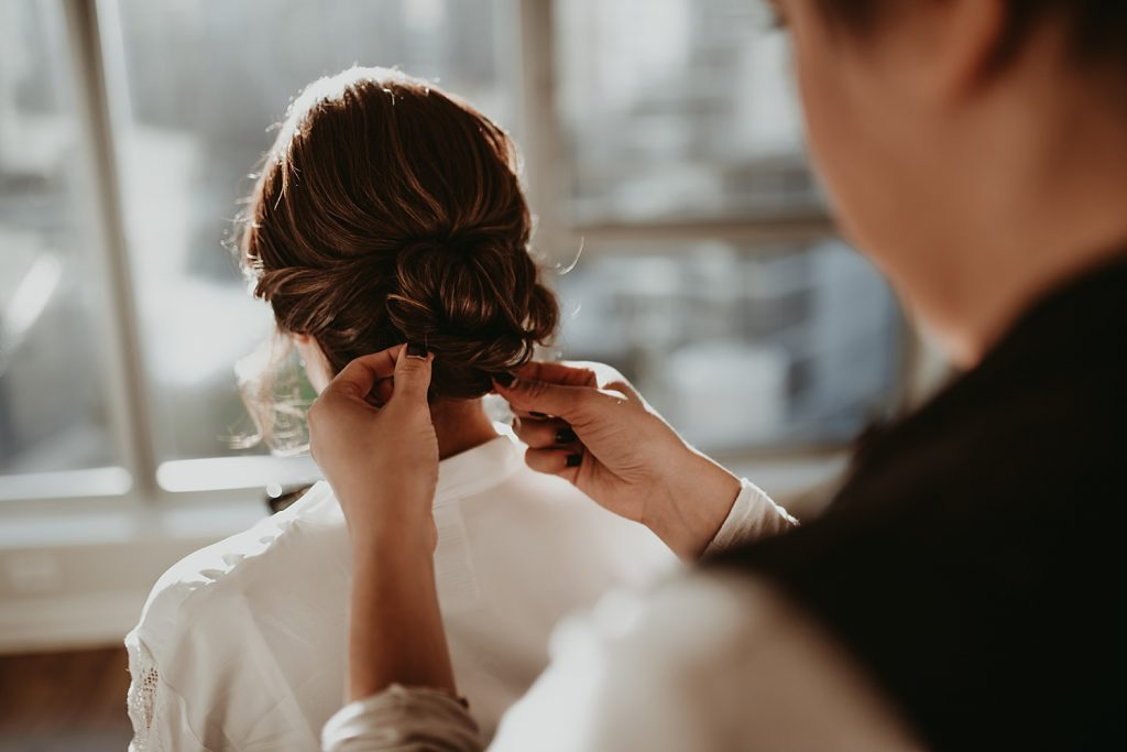 dowtown Chicago elopement wedding photography. The Adamkovi. hair and make up