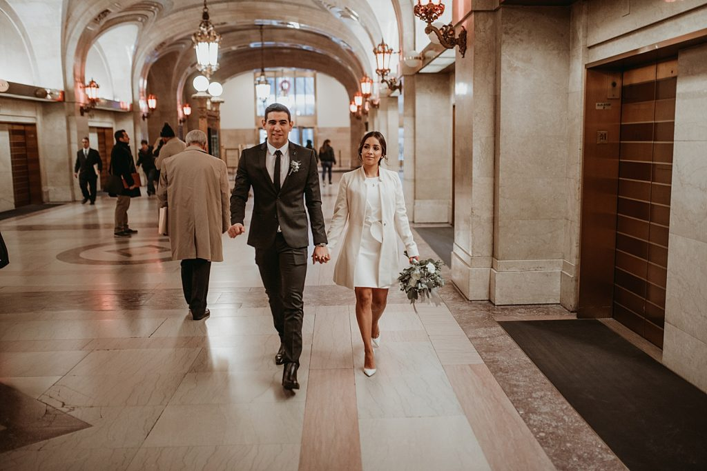 dowtown Chicago elopement wedding photography. The Adamkovi. Chicago City hall. The Dailey center