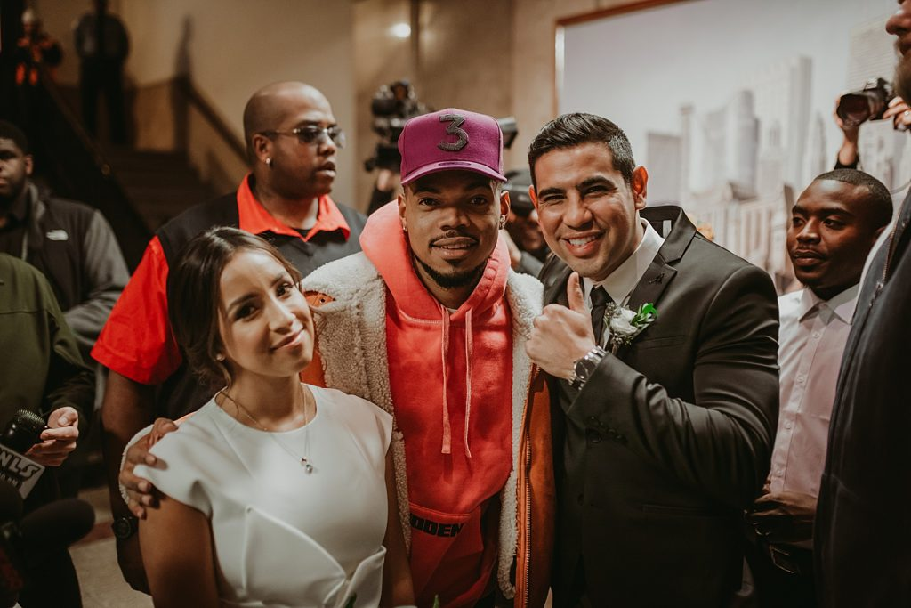 dowtown Chicago elopement wedding photography. The Adamkovi. Chicago City hall. The Dailey center. Chance the Rapper
