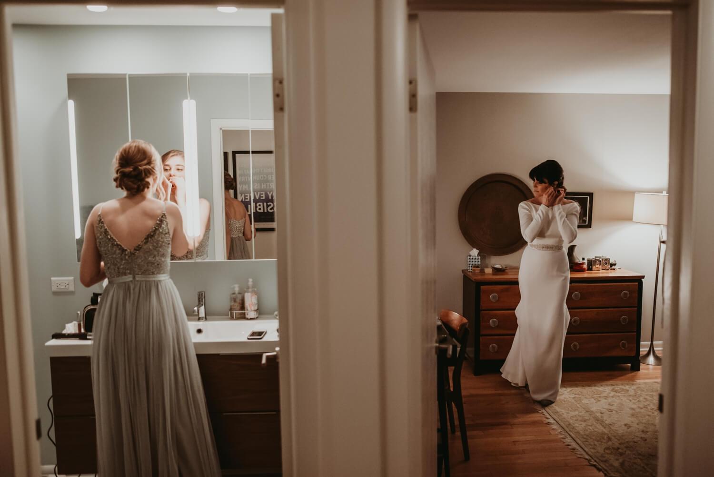bride getting ready at home - The Adamkovi Chicago wedding photographer