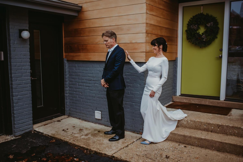 Bride and Groom first look - The Adamkovi Chicago wedding photographer