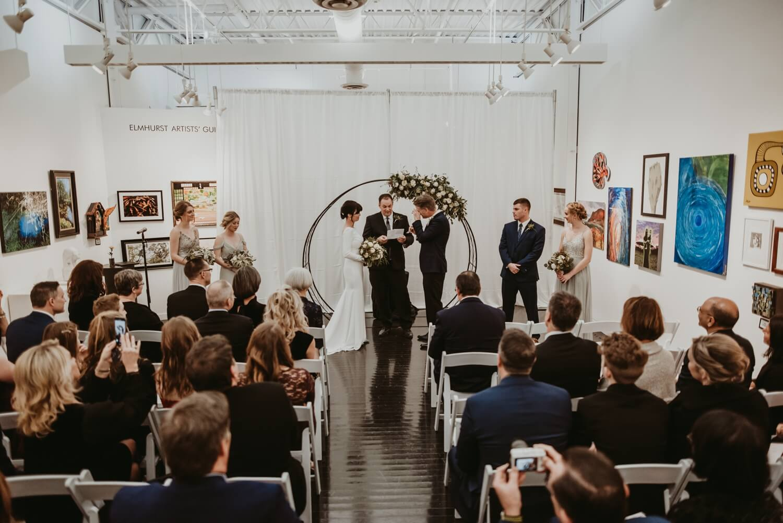 Wedding Ceremony - Elmhurst art Museum Wedding - The Adamkovi Chicago wedding photographer - Groom Crying - Vow reading