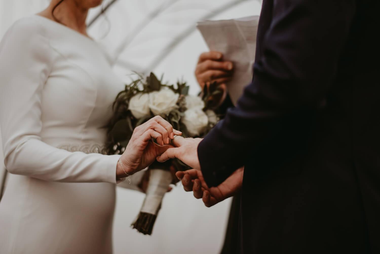 Wedding Ceremony - Elmhurst art Museum Wedding - The Adamkovi Chicago wedding photographer - Ring exchange