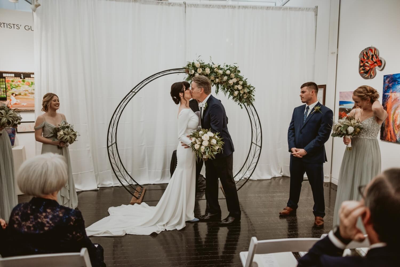 Wedding Ceremony - Elmhurst art Museum Wedding - The Adamkovi Chicago wedding photographer - First Kiss
