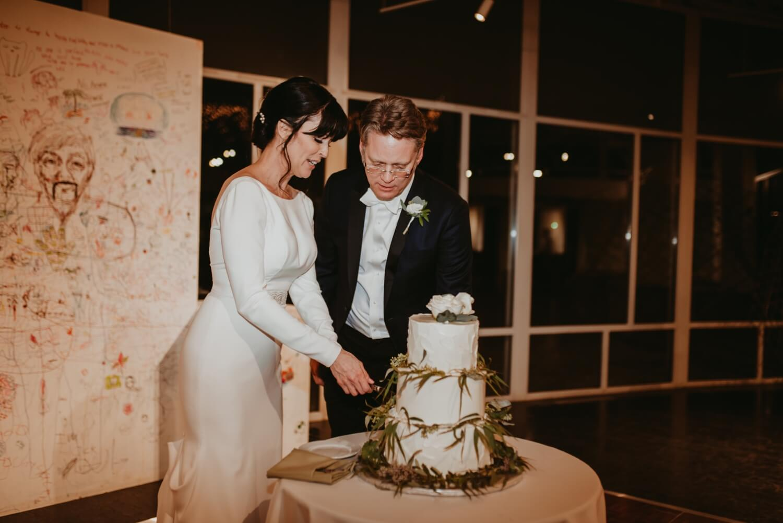 Reception Decor Elmhurst art Museum Wedding - The Adamkovi Chicago wedding photographer - Cake cutting