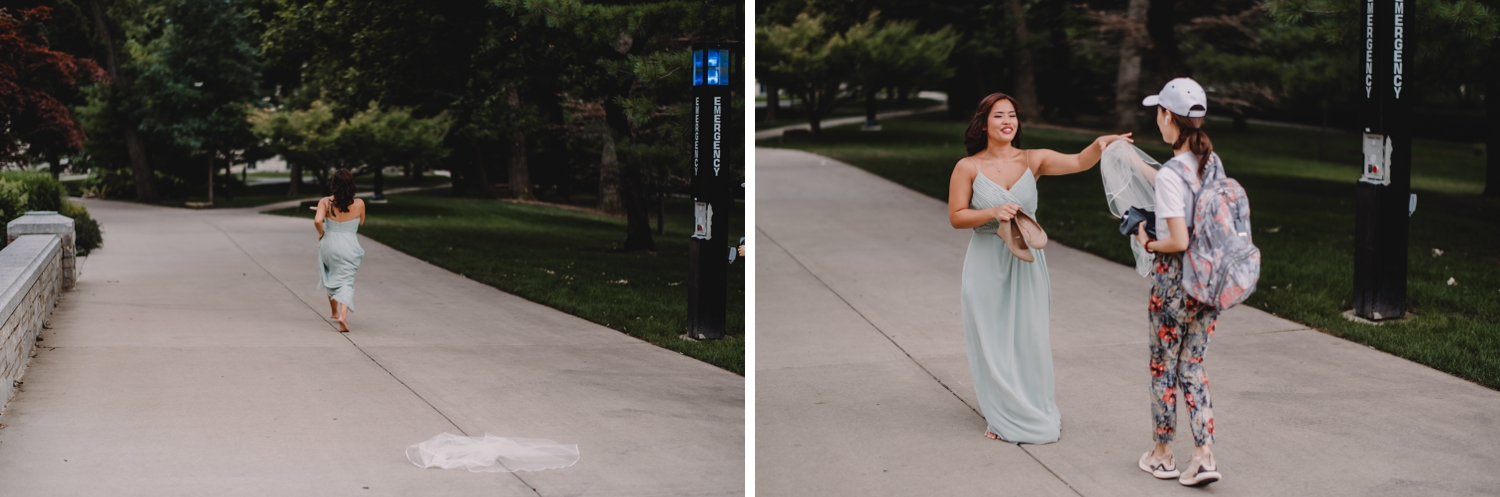 bridesmaid running, The Women's Club of Evanston Wedding Photographer - The Adamkovi, Chicago wedding Photographer