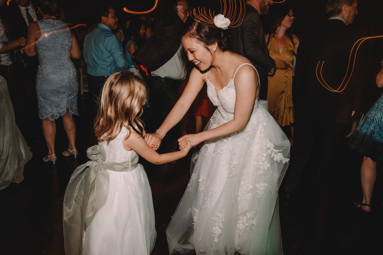 bride dancing with flower girl, The Women's Club of Evanston Wedding Photographer - The Adamkovi, Chicago wedding Photographer