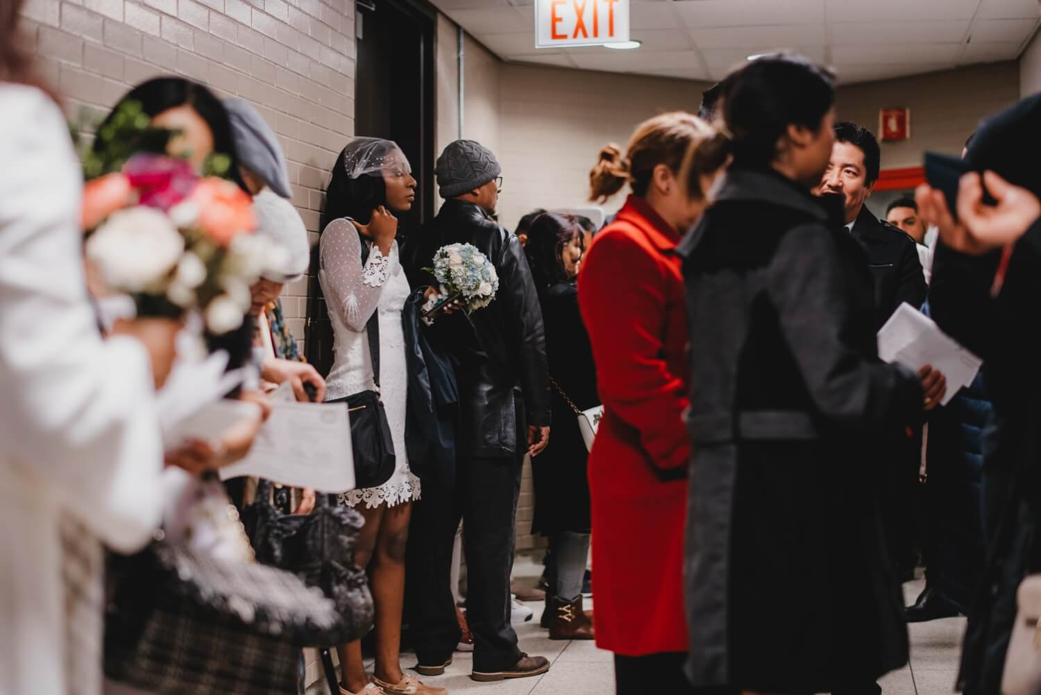 Chicago City Hall Wedding Photographer - The Adamkovi, bride waiting in city hall line