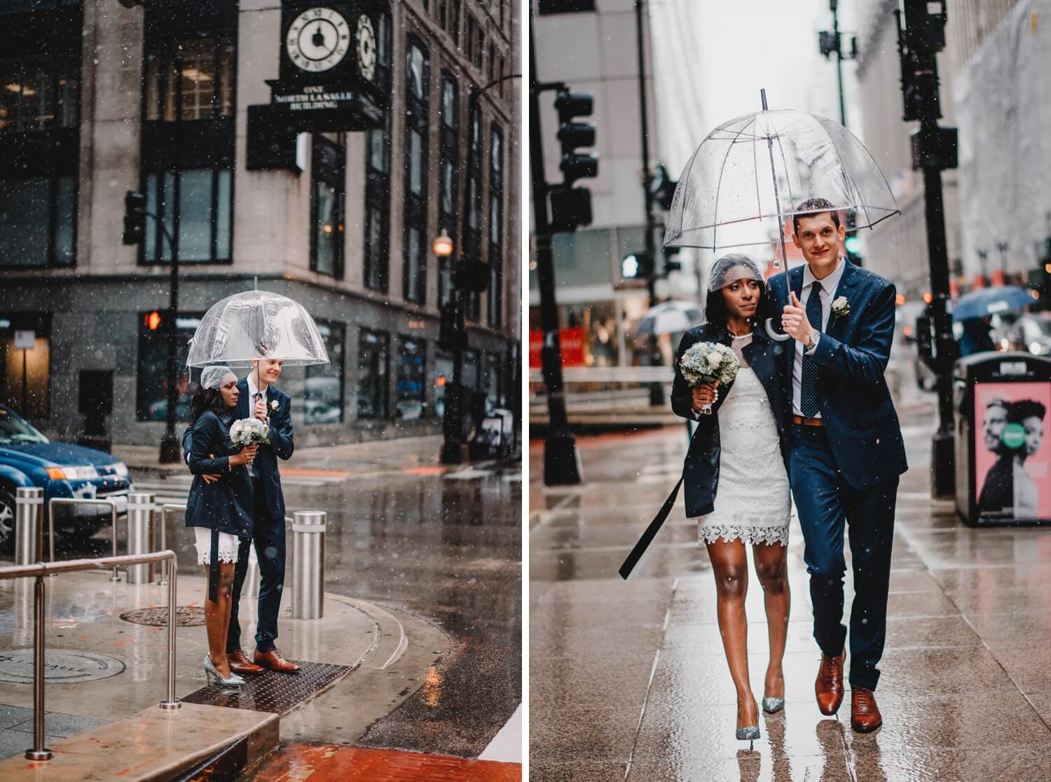 Chicago City Hall Wedding Photographer - The Adamkovi, bride and groom under a clear cute umbrella, mixed couple