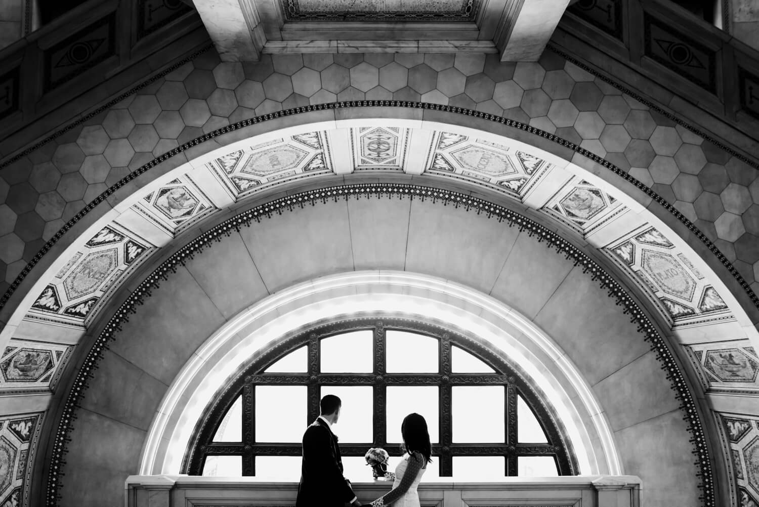 Chicago City Hall Wedding Photographer - The Adamkovi, bride and groom in the Chicago cultural center