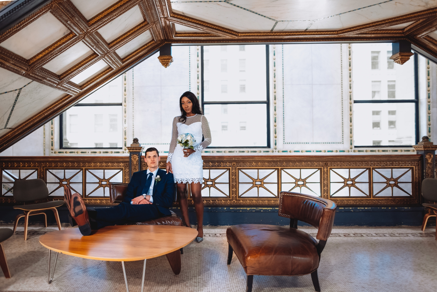 Chicago City Hall Wedding Photographer - The Adamkovi, bride and groom in the Chicago cultural center, super models, mixed couple