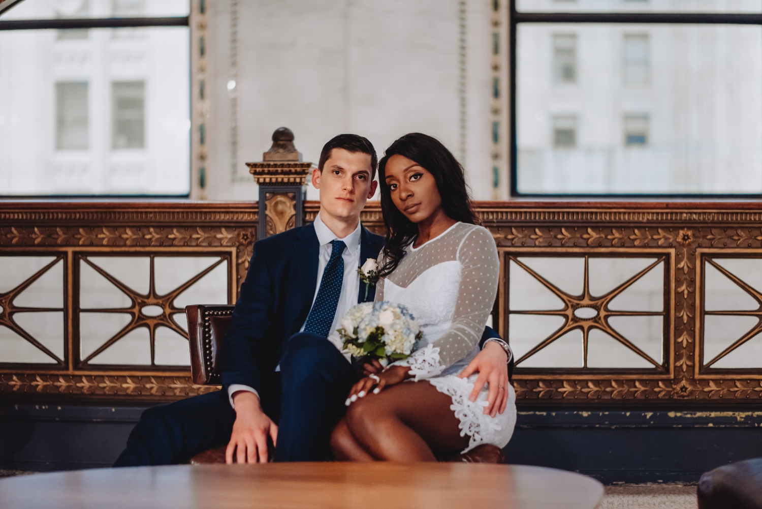 Chicago City Hall Wedding Photographer - The Adamkovi, bride and groom in the Chicago cultural center, super models,, mixed couple