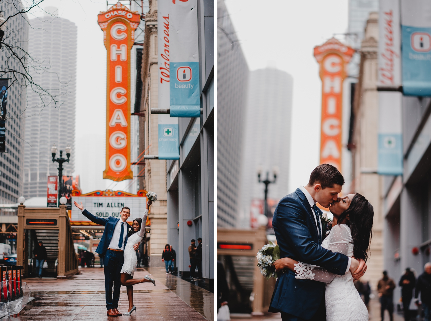 Chicago City Hall Wedding Photographer - The Adamkovi, bride and groom in front of the Chicago theater, mixed couple