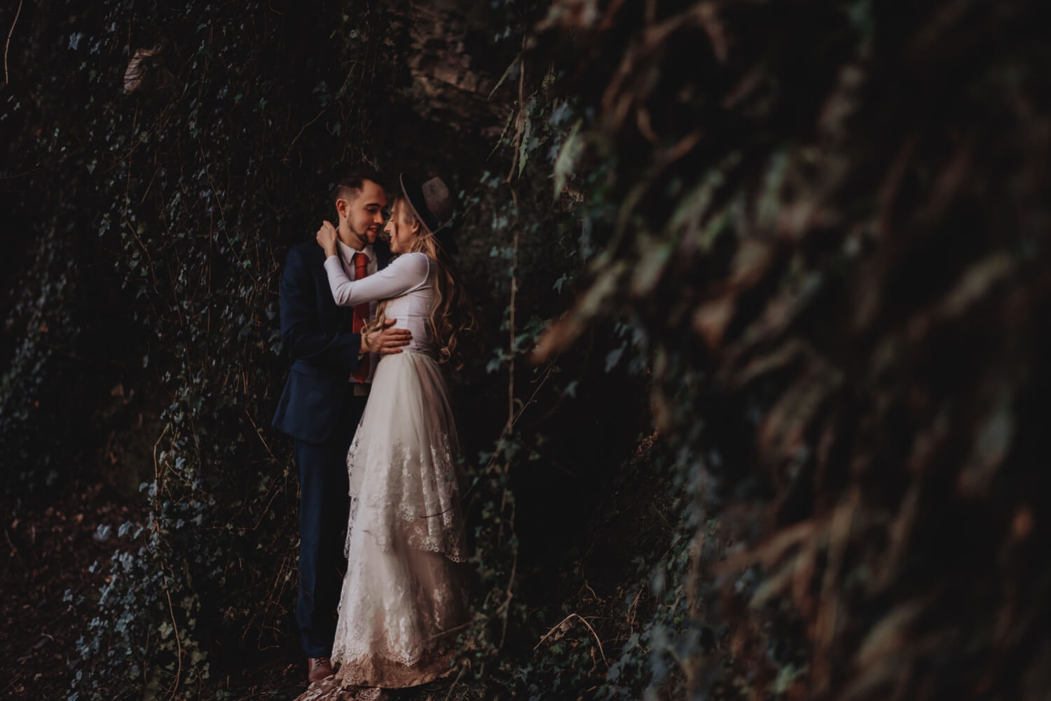 forest, elopement, Bride and groom Wedding Photographer in Edinburgh - The Adamkovi
