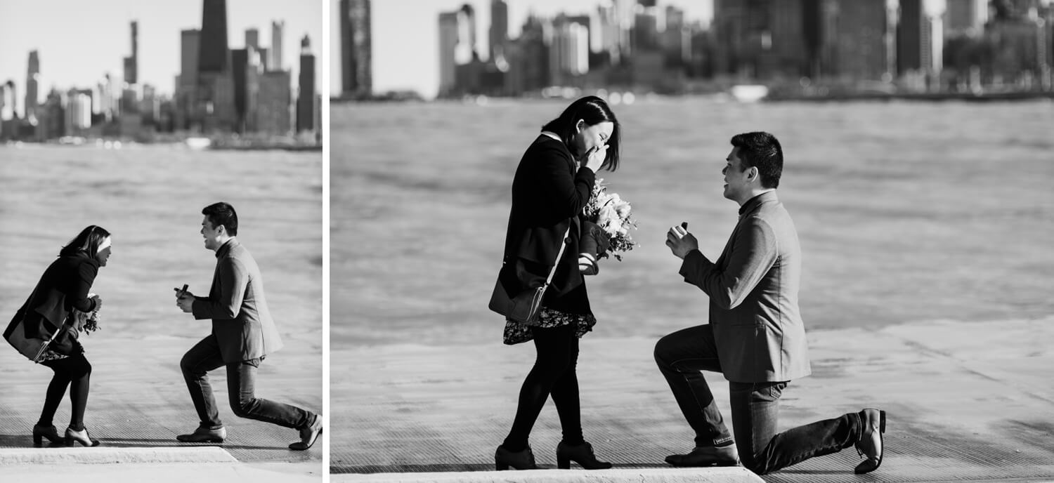 Lakeview Chicago beach proposal - The Adamkovi Photography