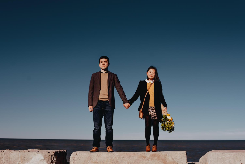 Chicago beach engagement couple - The Adamkovi Photography
