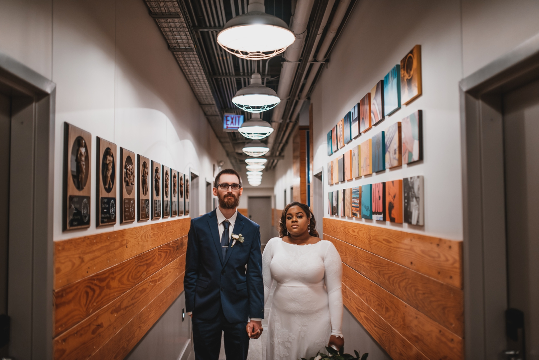Chicago Elopement photographer - The Adamkovi, bride and groom portrait hallway of fieldhouse jones