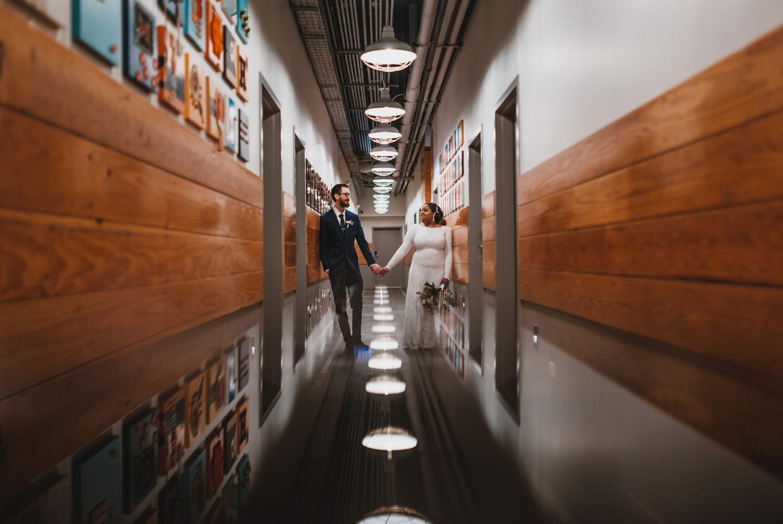 Chicago Elopement photographer - The Adamkovi, bride and groom indoor portrait hotel