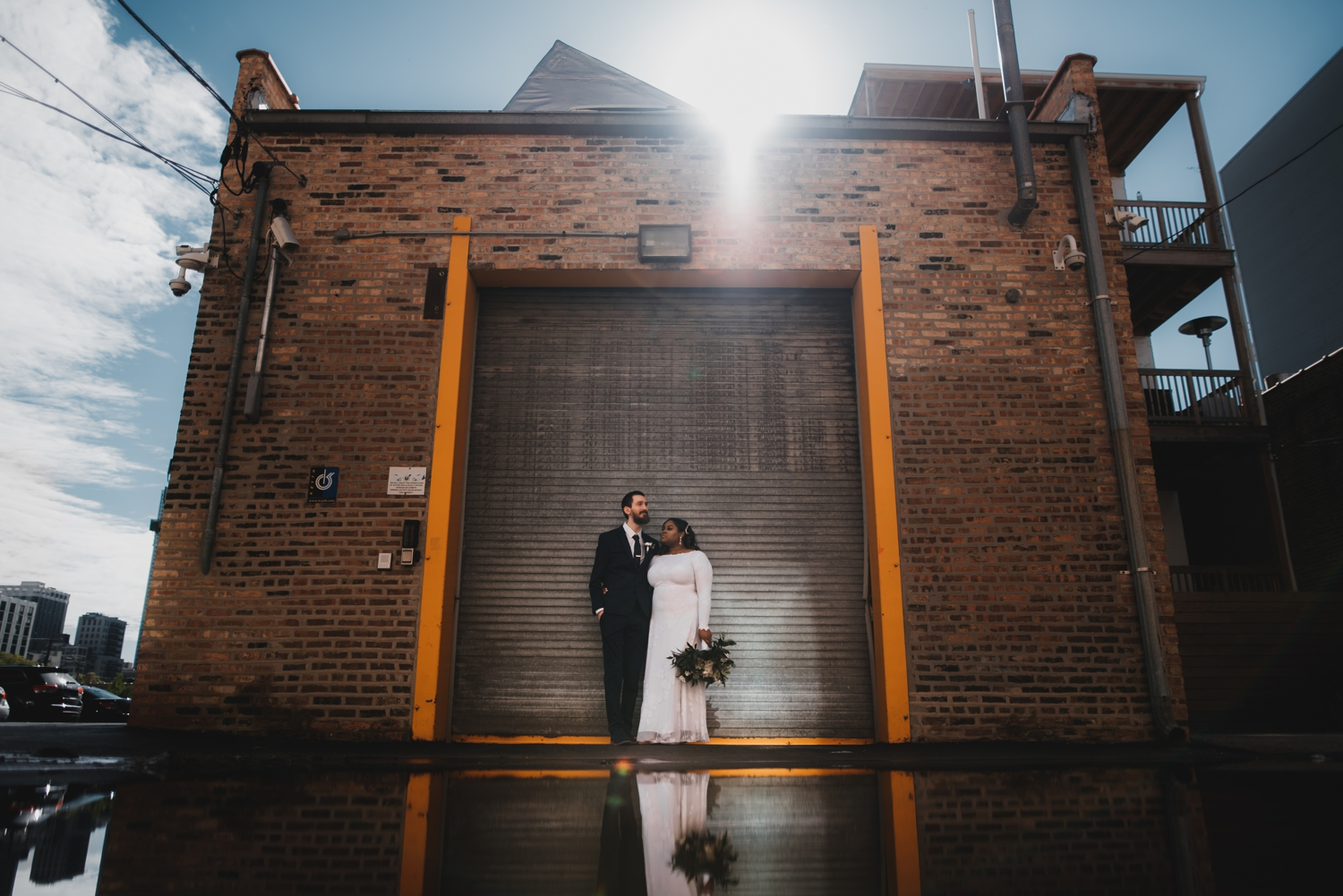 Chicago Elopement photographer - The Adamkovi, bride and groom chicago back alley portrait, creative