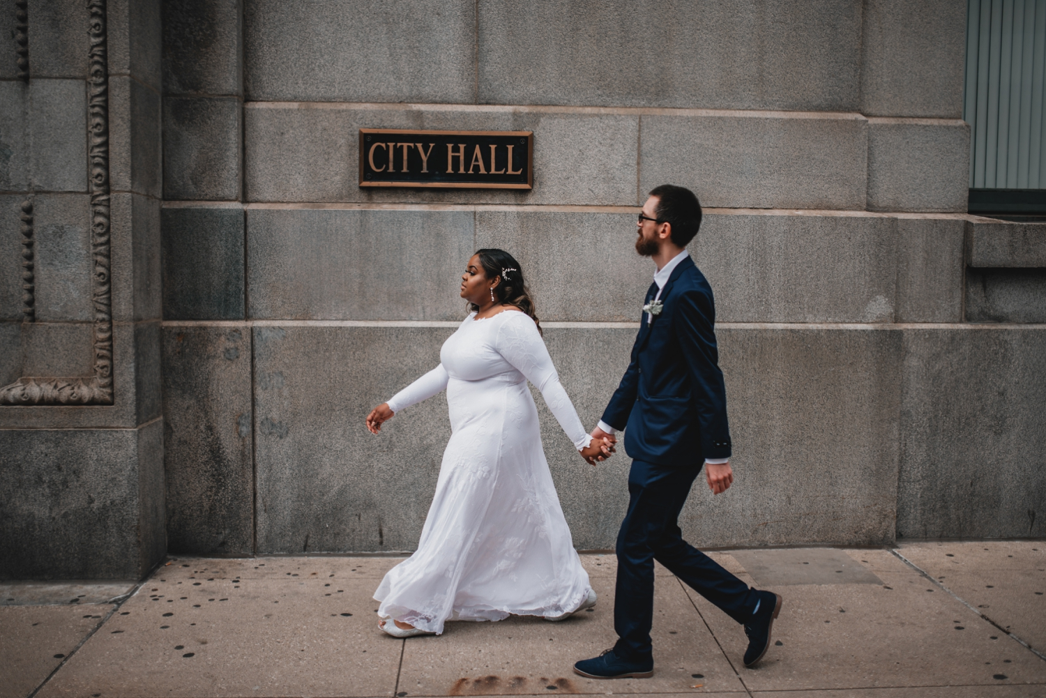 Chicago Elopement photographer - The Adamkovi, bride and groom in front of the city hall