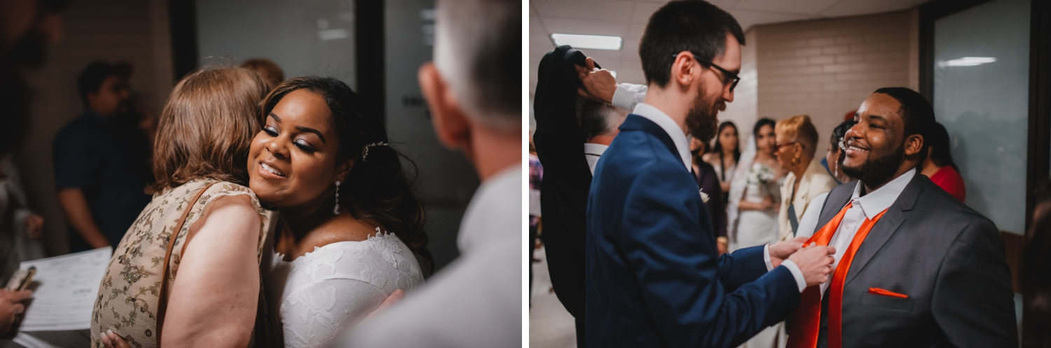 Chicago Elopement photographer - The Adamkovi, bride and groom hugging family members
