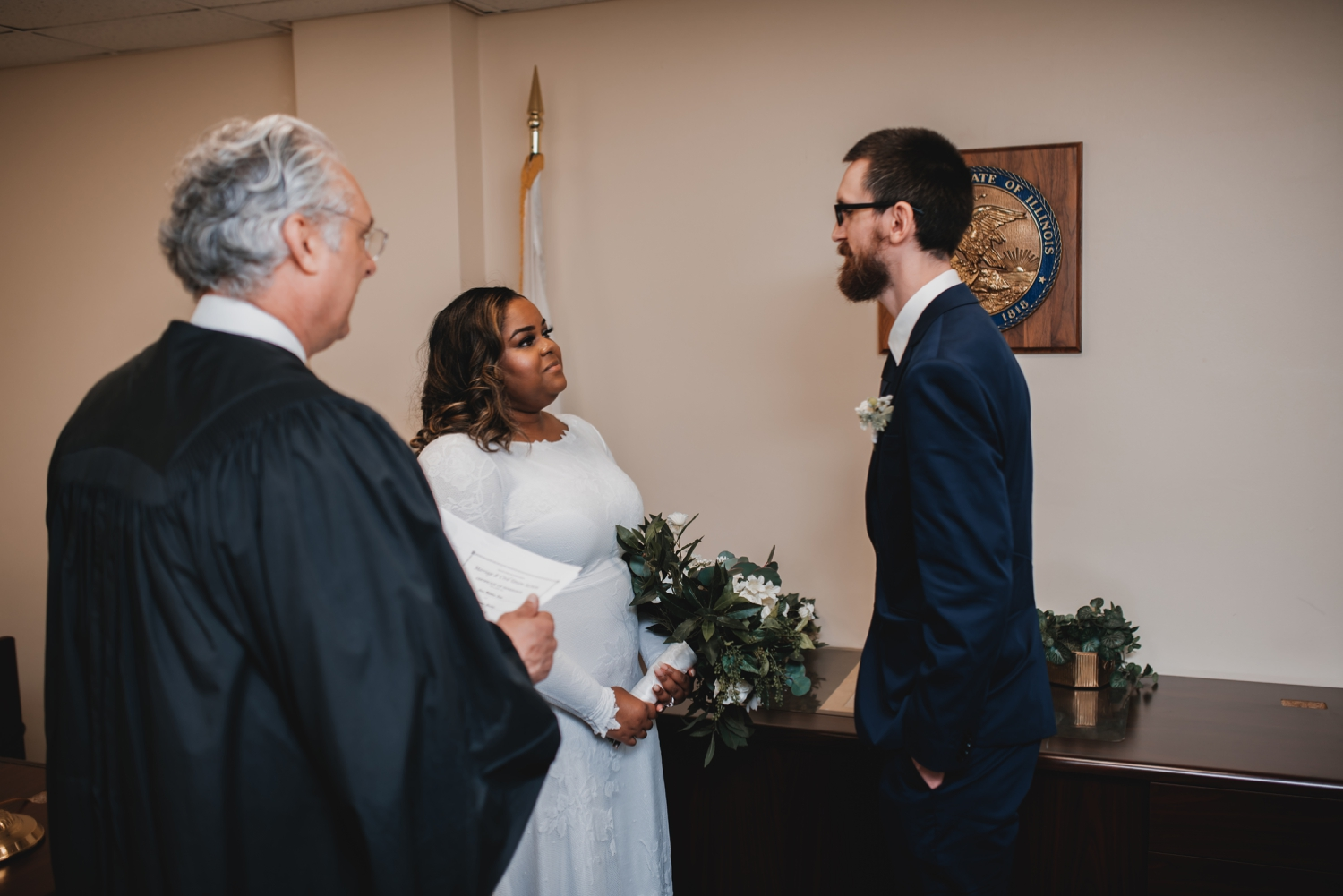 Chicago Elopement photographer - The Adamkovi, bride and groom in front of the judge