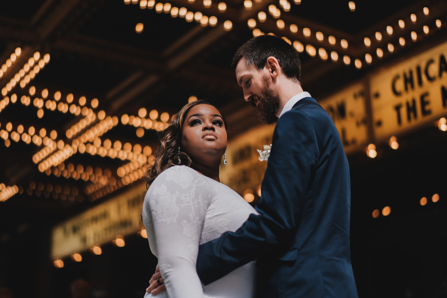 Chicago Elopement photographer - The Adamkovi, bride and groom epic portrait with light behind them