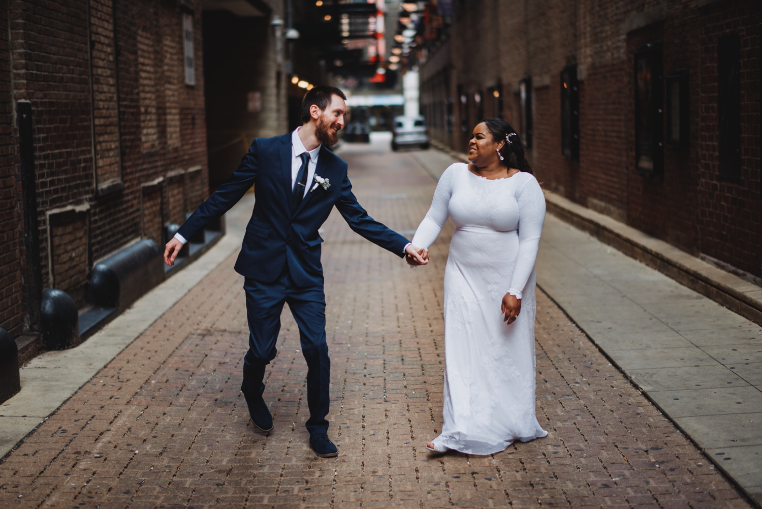 Chicago Elopement photographer - The Adamkovi, bride and groom being funny
