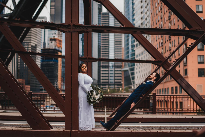 Chicago Elopement photographer - The Adamkovi, bride and groom unique photo on a kinzie street bridge