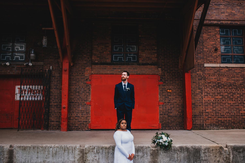 Chicago Elopement photographer - The Adamkovi, bride and groom red door portrait