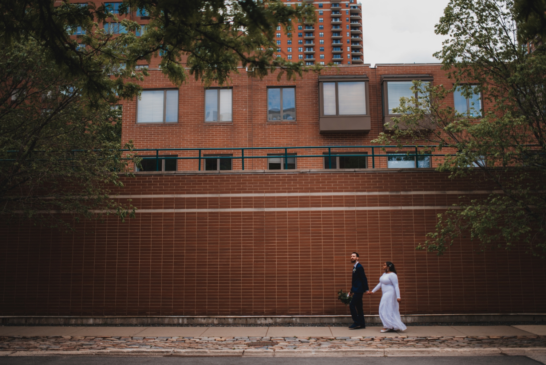 Chicago Elopement photographer - The Adamkovi, bride and groom walking