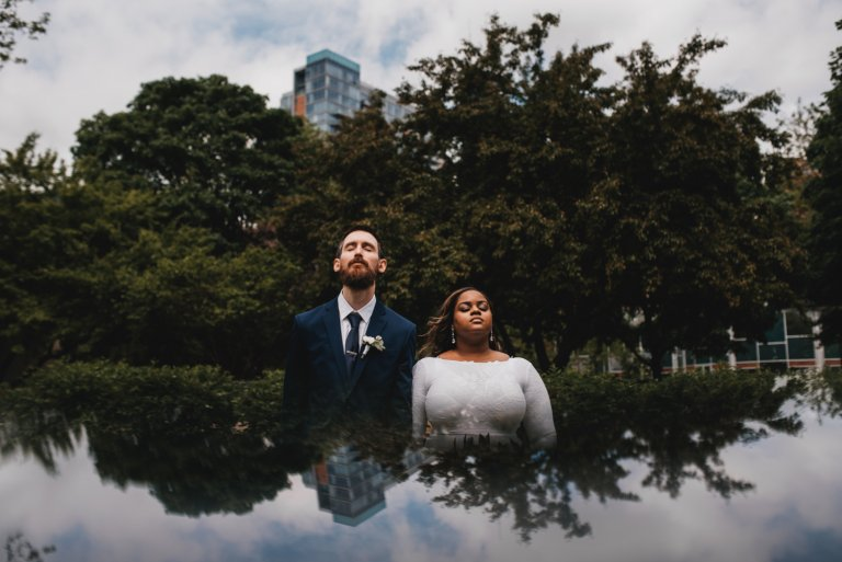Chicago Elopement photographer - The Adamkovi, bride and groom dreamy photo out of this world, clouds