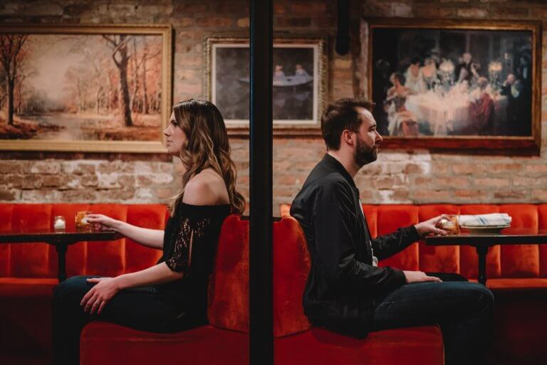 Downtown Chicago Engagement creative photo in a bar