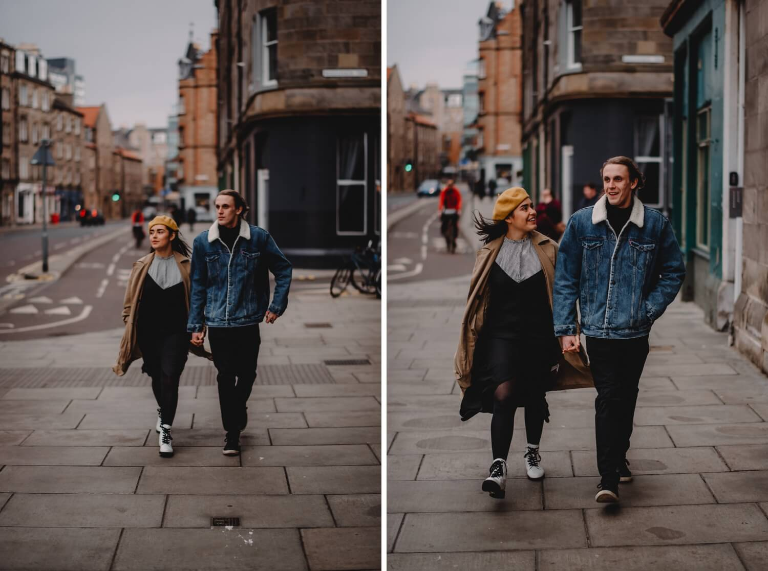 Scotland Couple Photoshoot - Destination wedding photographer - The Adamkovi, edinburgh streets