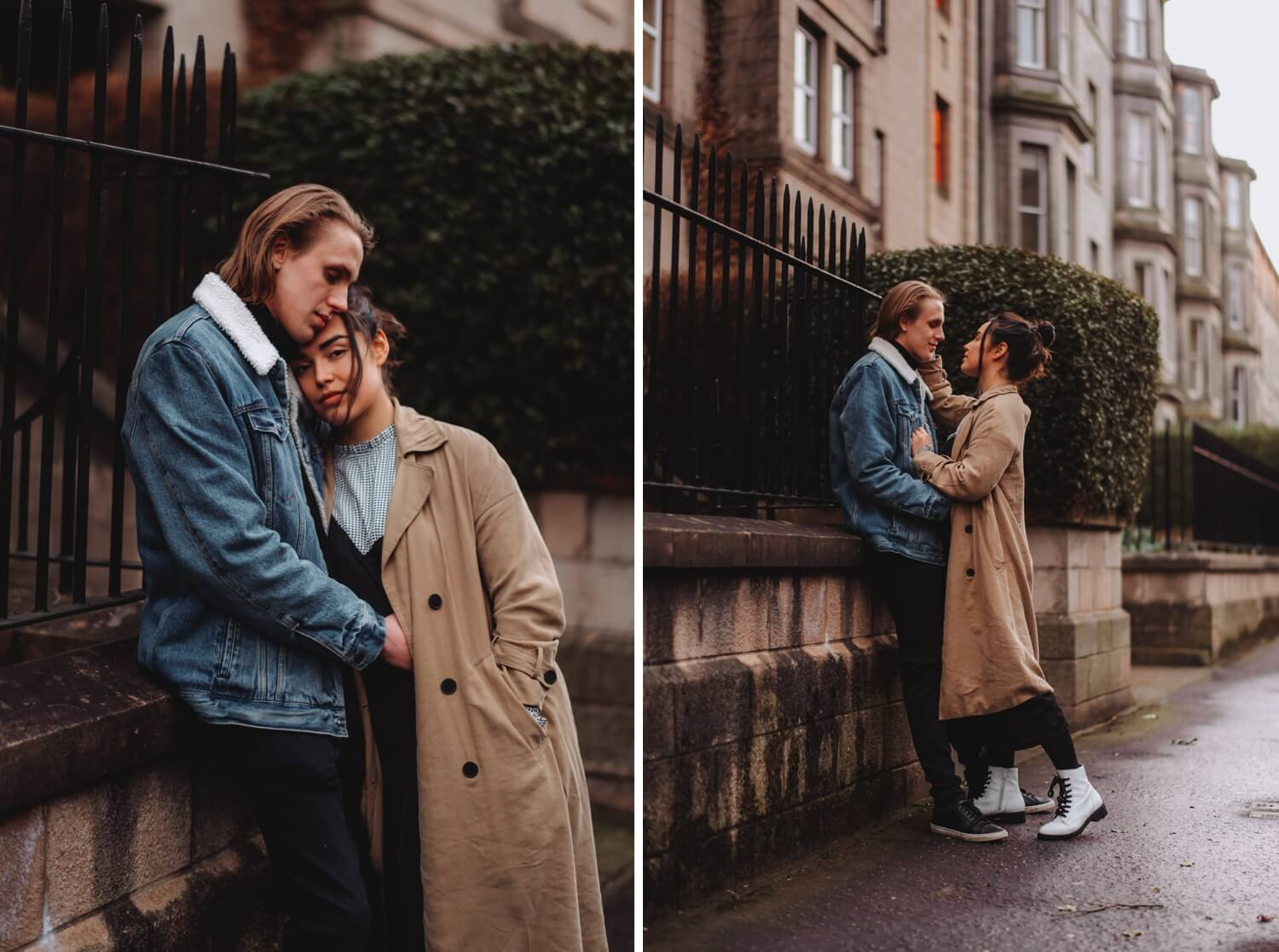 Scotland Couple Photoshoot - Destination wedding photographer - The Adamkovi, Edinburgh streets couple in love photo