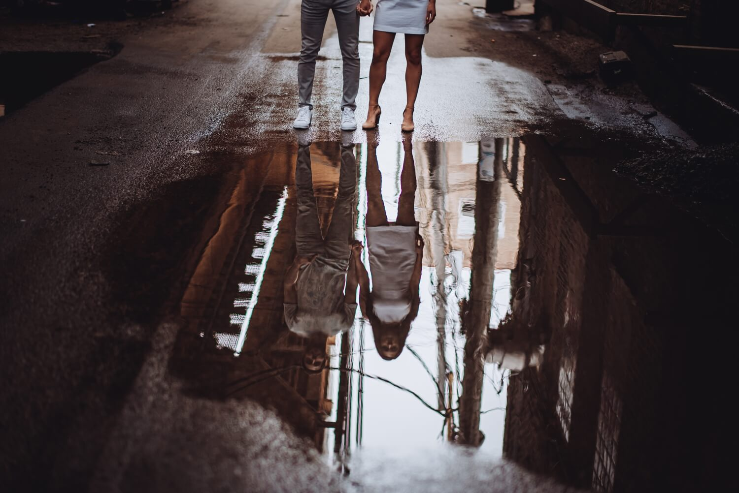 Wicker Park Engagement Photographer - The Adamkovi, grungy engagement photo shoot. Puddle refelctions