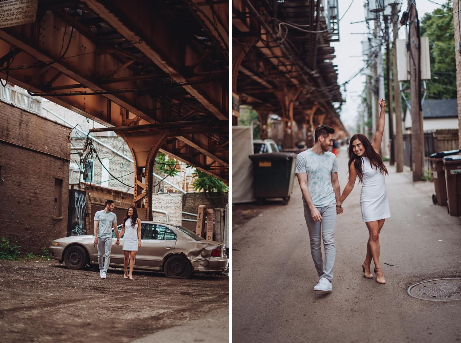 Wicker Park Engagement Photographer - The Adamkovi, under the train tracks
