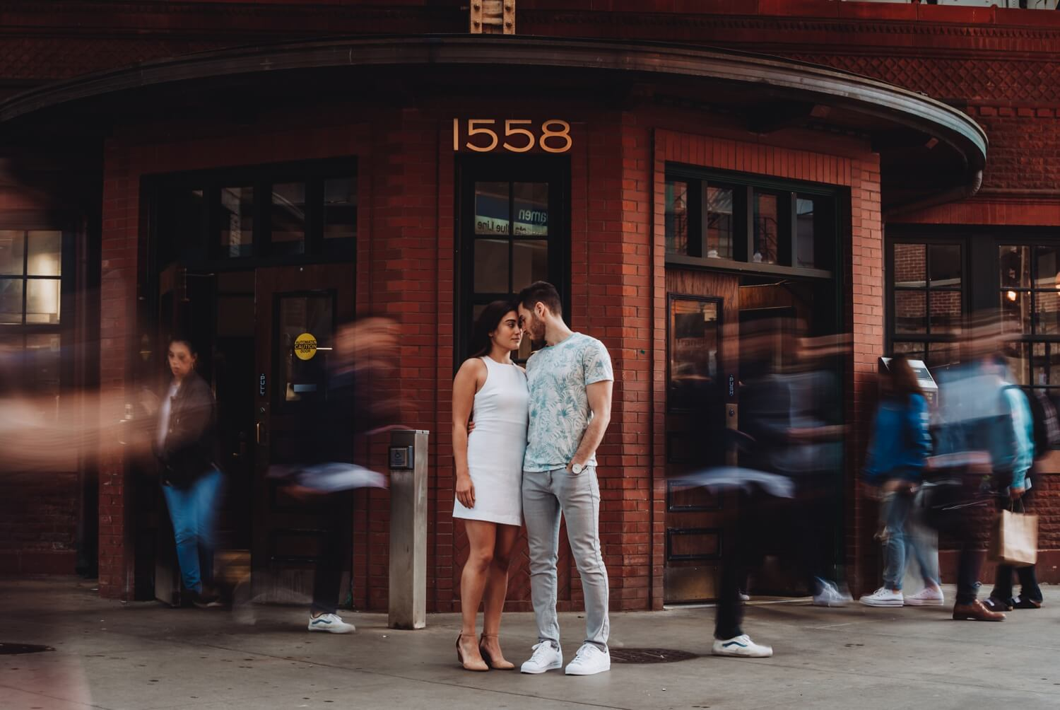 Wicker Park Engagement Photographer - The Adamkovi, long exposure, busy stree