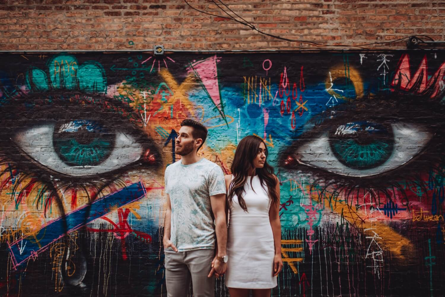 Wicker Park Engagement Photographer - The Adamkovi, eyes grafitti