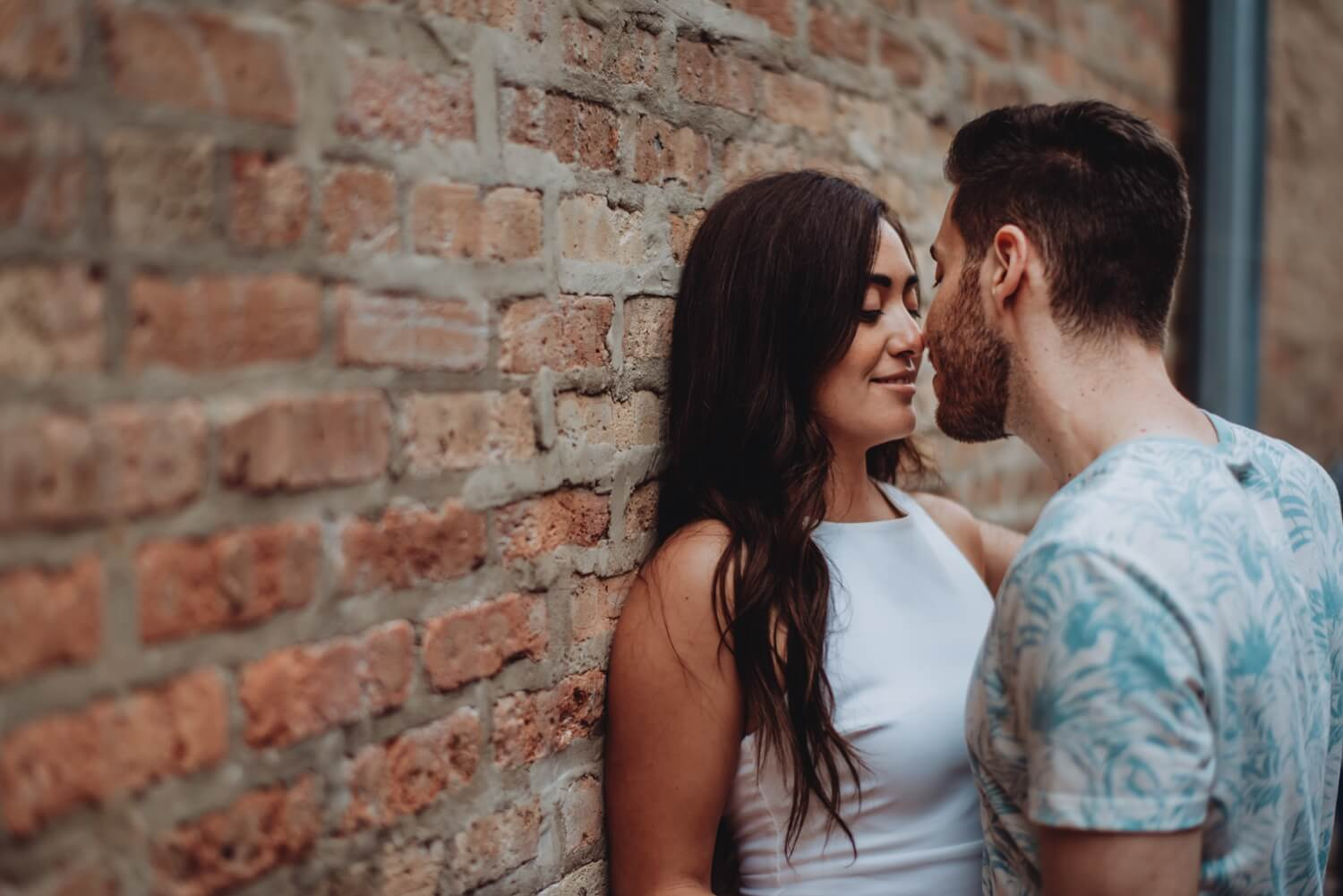 Wicker Park Engagement Photographer - The Adamkovi, romantic brick wall photo