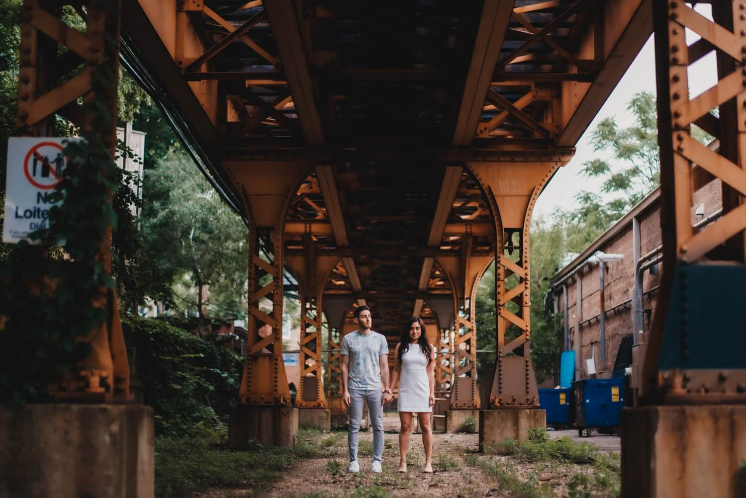 Wicker Park Engagement Photographer - The Adamkovi, epic under the L train tracks photo.