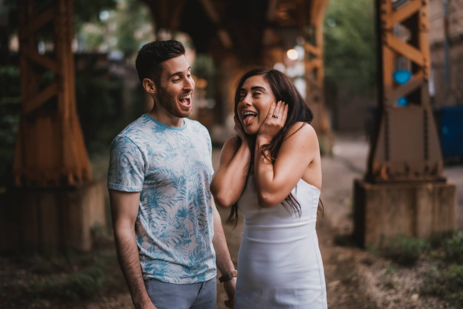Wicker Park Engagement Photographer - The Adamkovi, funny loud train photo