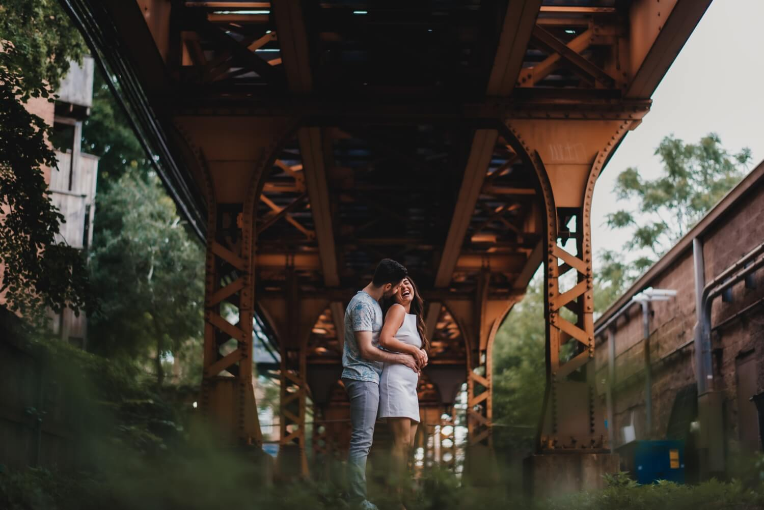 Wicker Park Engagement Photographer - The Adamkovi, under the L train tracks