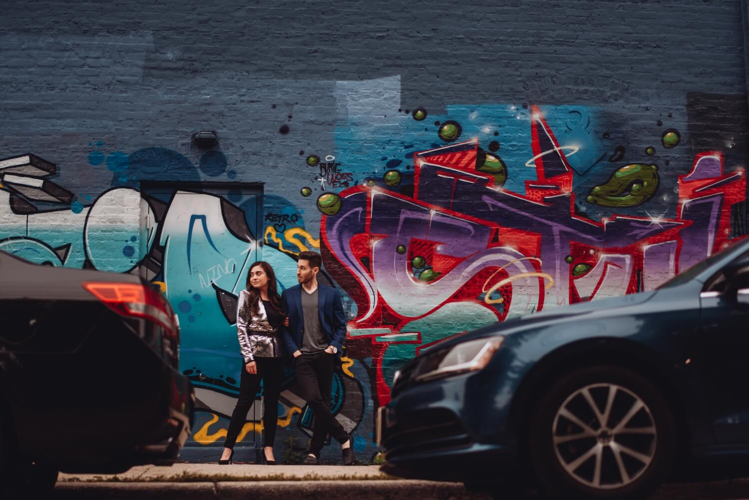 Wicker Park Engagement Photographer - The Adamkovi, by graffiti wall